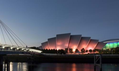 Glasgow SEC Armadillo and SSE Hydro lit up at night