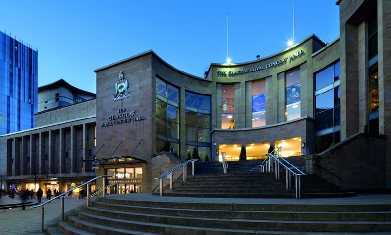 Exterior Buchanan Street entrance and steps of the Glasgow Royal Concert Hall