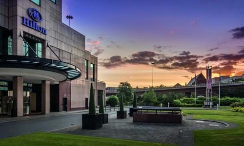 Exterior of the Hilton Glasgow at sunset