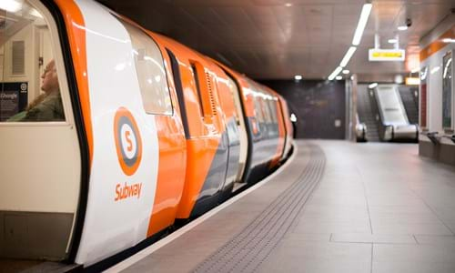 Glasgow subway carriage stopped at Partick Station
