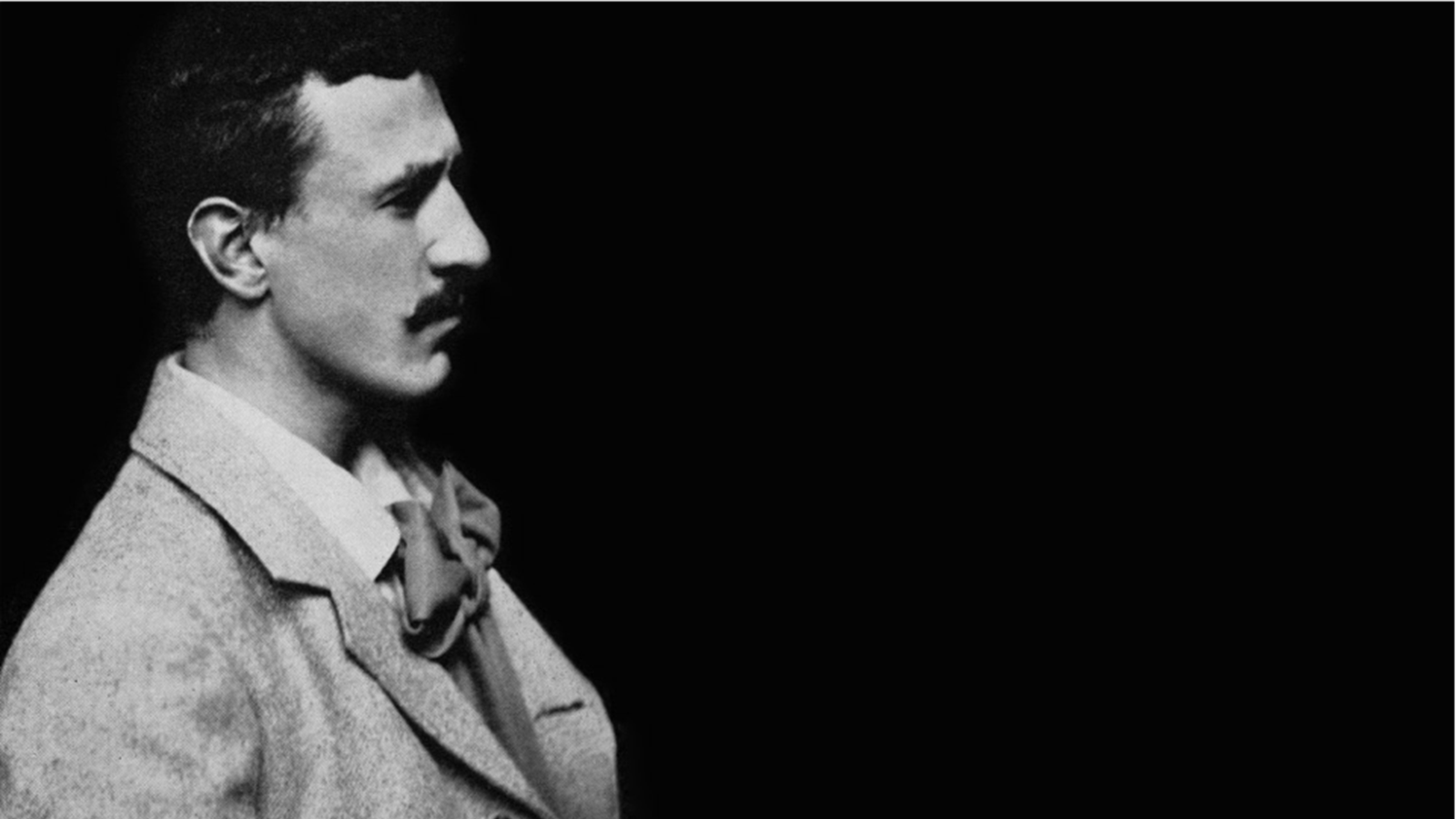 Black and white side profile of Charles Rennie Mackintosh