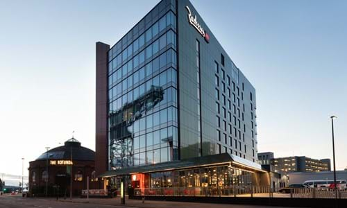 Exterior building of Radisson Red Hotel Glasgow