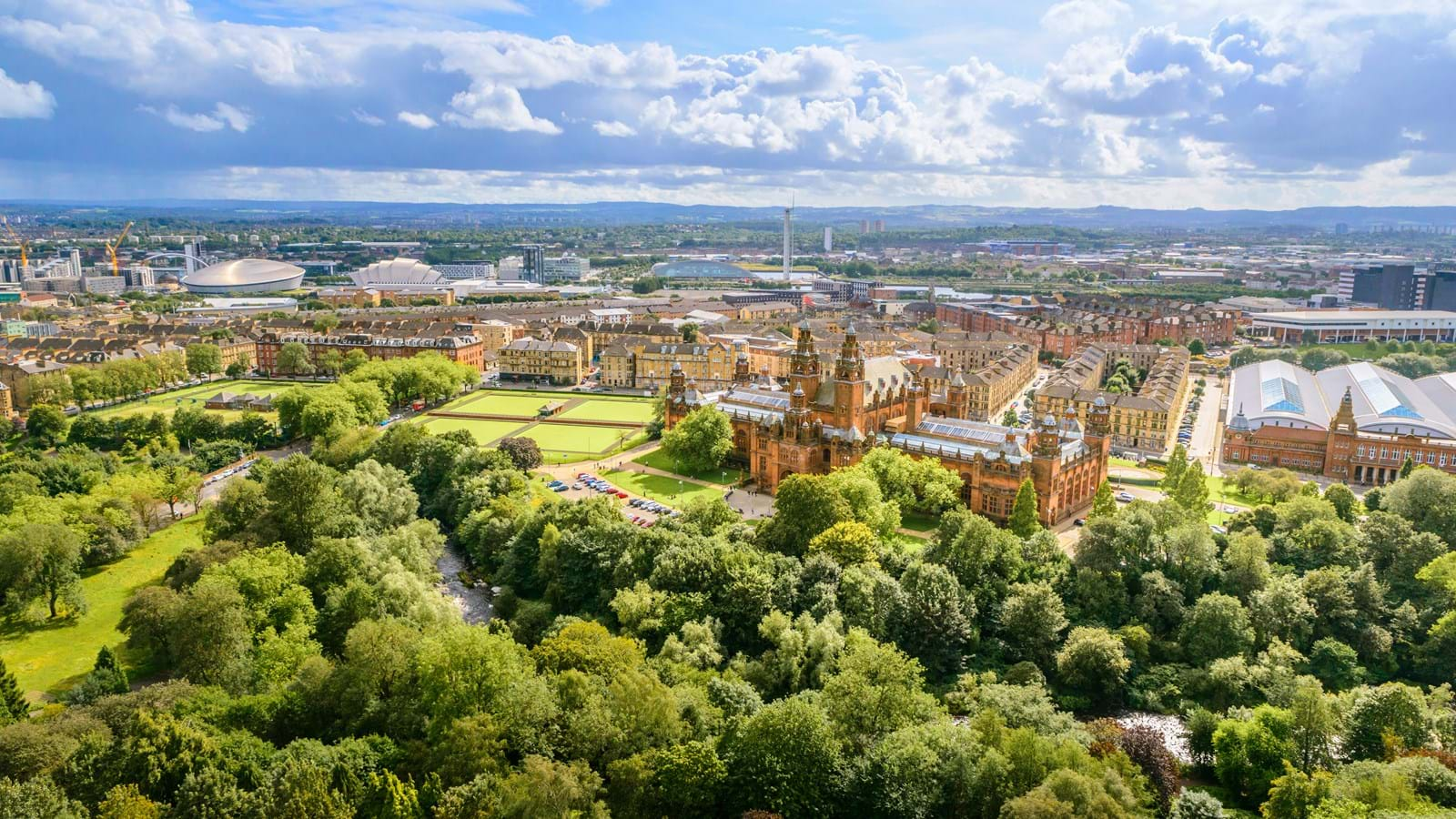Ariel view of Kelvingrove Art Gallery and Museum
