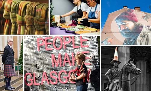 Montage featuring a man wearing a kilt, a woman playing bagpipes in front of a people make Glasgow sign, the St Mungo Mural in Glasgow, the Duke of Wellington Statue, two chefs preparing food and some tartan fabric